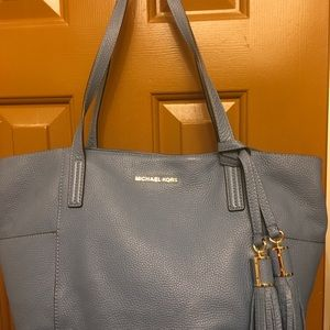 Michael Kors light blue soft pebble leather bag